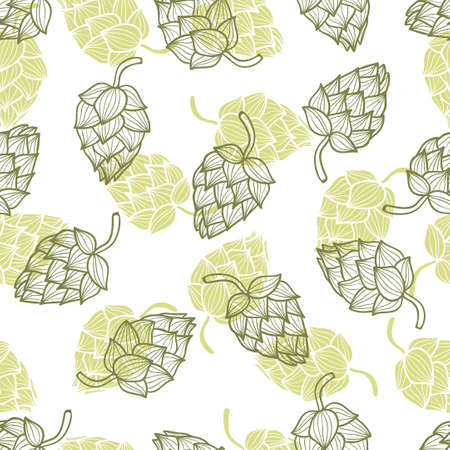 agriculture wallpaper: Hand drawn hops seamless pattern. Vector background with hop cones.