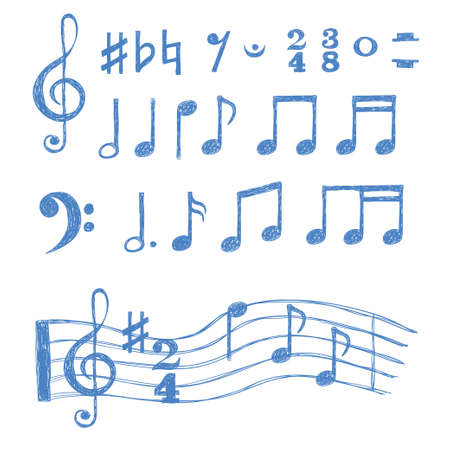 Music notes set. Collection of sketch music symbols isolated on white. Vector illustration.