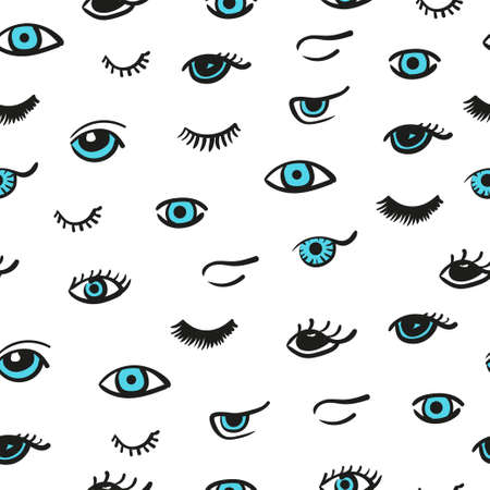 lashes: Doodle eyes seamless pattern. Vector background with cute blue eyes and lashes. Illustration