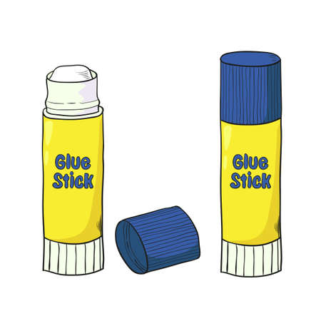 Cartoon glue stick isolated on white. Vector illustration.