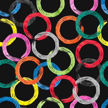 rainbow circle: Colorful watercolor rings seamless pattern. Vector background with rainbow circle elements on dark Illustration