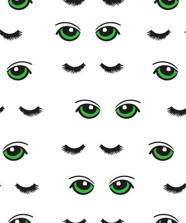 lashes: Cartoon green eyes seamless pattern. Vector background with doodle eyes and lashes isolated on white.
