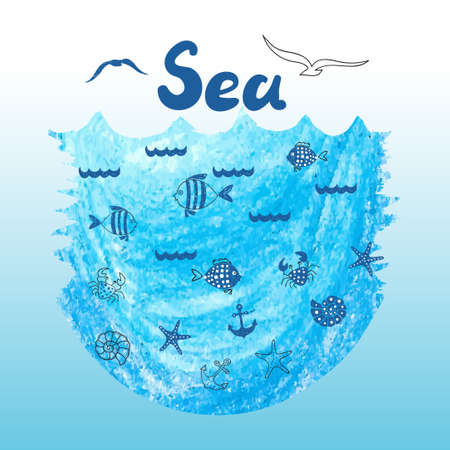 horizont: Sea vector background with doodle icons of fish, crabs, shells. Marine theme illustration.