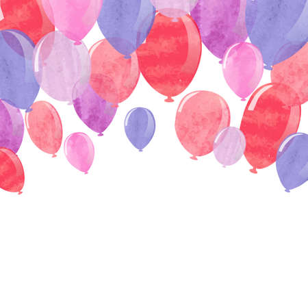 red balloons: Vector illustration of watercolor red, pink and blue balloons.