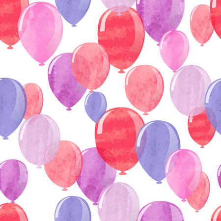 red balloons: Watercolor pink, red and blue balloons seamless pattern. Vector background.