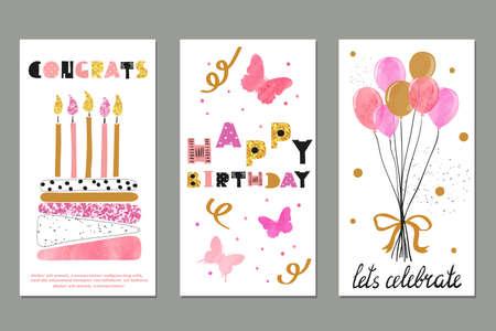 Set of watercolor birthday greetings card design. Vector illustration.