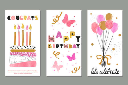 Set of watercolor birthday greetings card design. Vector illustration.
