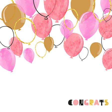 Watercolor pink and glittering gold balloon. Vector celebration background. 矢量图像
