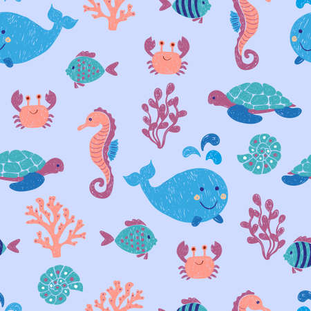 Cute sea animals seamless pattern. Vector background with children drawings of whale, turtle, sea horse and fishes. Çizim