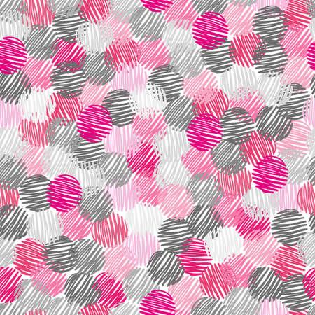abstracta, patrón, sin costura, garabato, círculo, puntos, fondo, rosa, gris, geométrico, vector, ejemplo, mano, dibujado, decoración, papel pintado, repetición, gráfico, diseño, estilo, moderno, redondo, forma, decorativo, elementos, oscuro, textil, tela, textura
