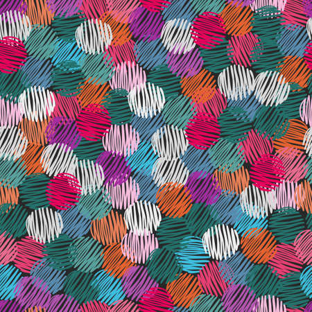 abstract scribble: Colorful scribble circles seamless pattern. Abstract vector background.