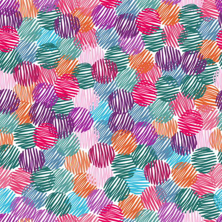 abstract scribble: Abstract scribble circles seamless pattern. Colorful vector background. Illustration