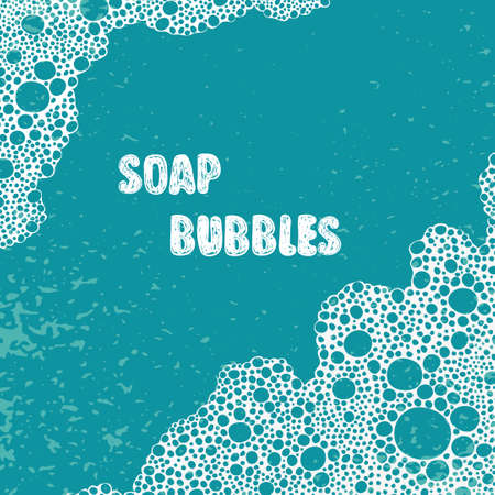 Soap bubbles, foam, suds vector background with place for text.
