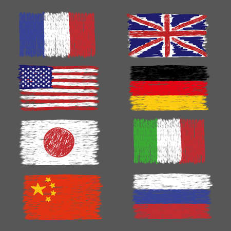world flags: Set of hand drawn grunge world flags. Vector illustration.