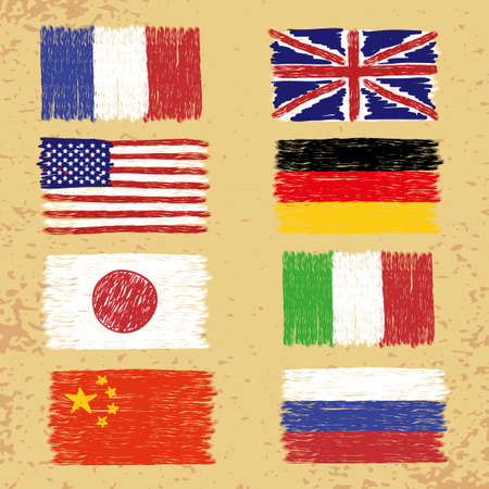 world flags: Set of hand drawn world flags. Vector grunge illustration. Illustration