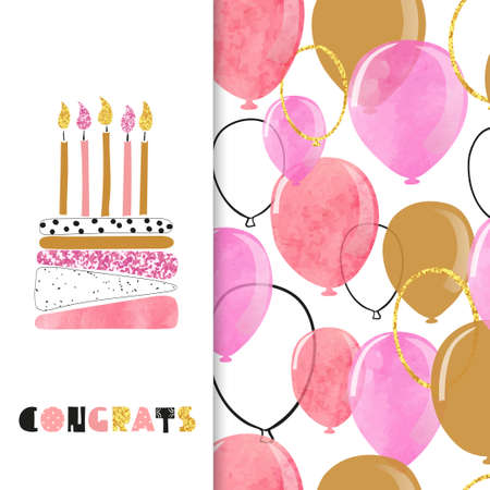 Watercolor birthday greeting card design in pink and golden colors. Vector illustration of birthday cake with candles and balloons.