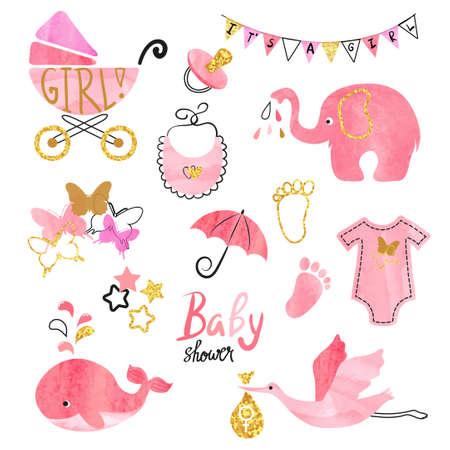 Aquarell-Babyparty-Mädchen eingestellt. Sammlung von Vektor-Design-Elemente.