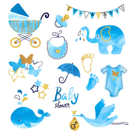 Watercolor Baby Shower boy set. Collection of vector design elements.