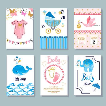 Watercolor Baby Shower set. Vector newborn celebration and invitation cards design. 矢量图像