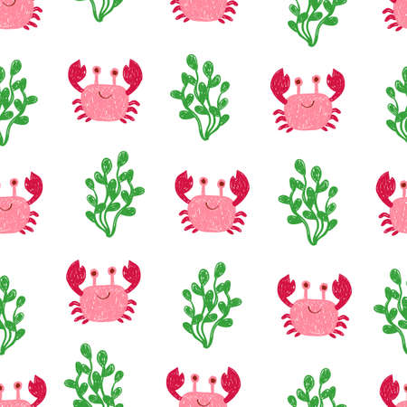 Cute doodle crabs seamless pattern. Vector sea background in pink and green colors.