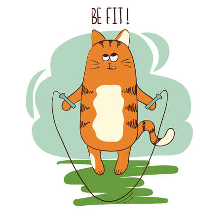 Cute cartoon fat cat jumping with skipping rope. Vector doodle fitness illustration.