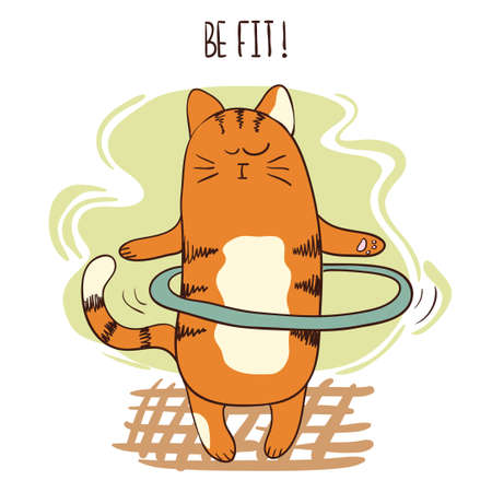 hula hoop: Cute cartoon cat exercising with hula hoop. Vector fitness illustration. Illustration