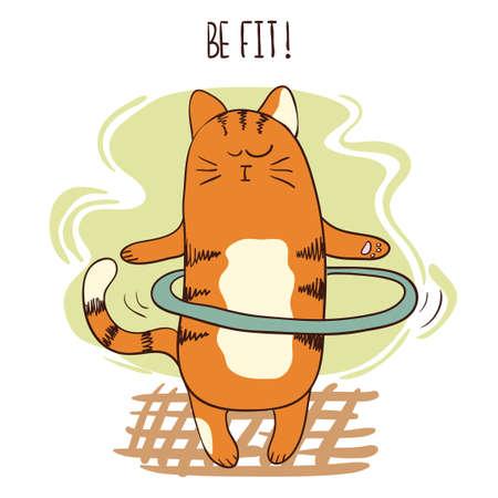 hula hoop: Cute cartoon cat exercising with hula hoop. Vector fitness illustration. Illustration