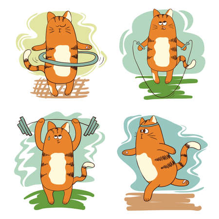 hula hoop: Set of cute cartoon cats involved in sports: running, engaged in weightlifting, exercising with hoop, jumping with rope. Vector illustration. Illustration
