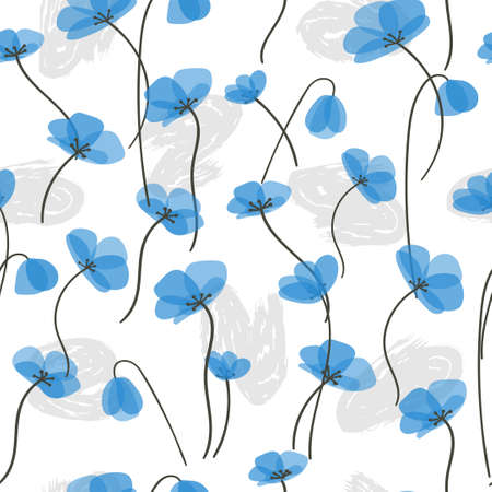 Delicate blue flowers seamless pattern. Vector floral background.