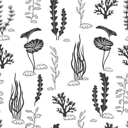 Bez szwu deseń z koralowców, wodorostów, muszli i kamieni silhouettes. Podwodne glony. Wektor czarno-białe tło morskich.