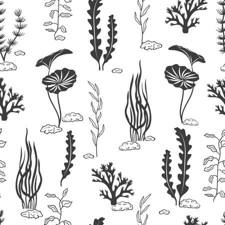 Seamless pattern with corals, seaweeds, shells and stones silhouettes. Underwater algae. Vector black and white marine background. Illustration