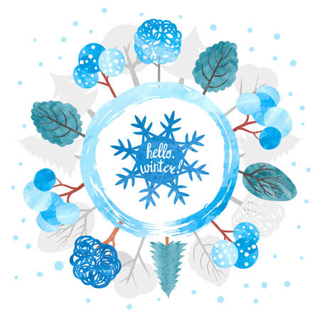 Hello winter circle vector illustration. Watercolor snowflake and trees in blue colors. Christmas round background.