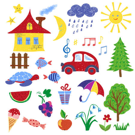 Children drawings set 2. Colorful hand drawn vector illustration.