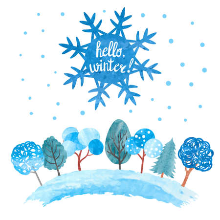 Hello winter vector illustration. Watercolor snowflake and trees in blue colors. Christmas background. Stock Illustratie