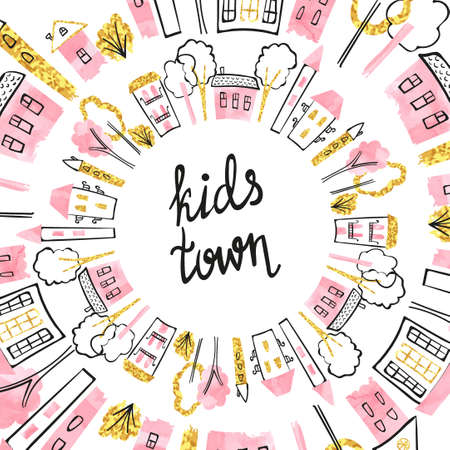 Cartoon doodle childish town. Vector city background in pink and golden colors. Stock Illustratie