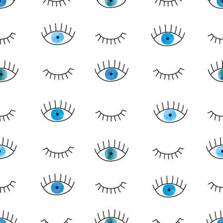 blue eyes: Hand drawn doodle blue eyes seamless pattern. Vector background