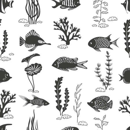 seaweeds: Fish seamless pattern. Underwater vector background. Silhouettes of corals seaweeds and fish isolated on white.