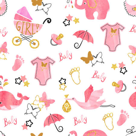 Baby shower girl seamless pattern. Vector watercolor kids background.