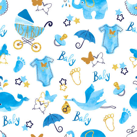 Baby shower boy seamless pattern. Vector watercolor kids background.