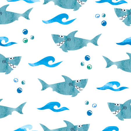Seamless pattern with cartoon watercolor sharks. Vector background.