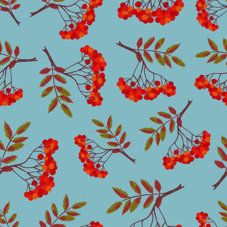 Seamless pattern with rowan berries and leaves on blue. Vector background. Illustration