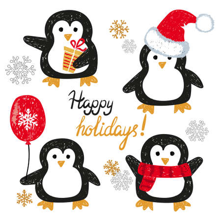 Set of cute doodle penguins. Merry Christmas greetings. Vector holiday characters.