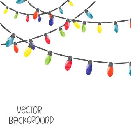 Weihnachtsbeleuchtung auf weißem Hintergrund. Vector Aquarellillustration Standard-Bild - 66325804