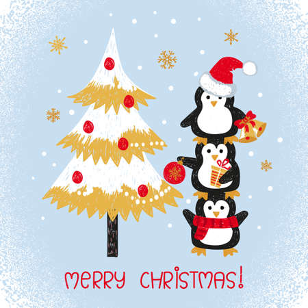 Merry Christmas card design with cute doodle penguins and fir tree. Vector illustration.
