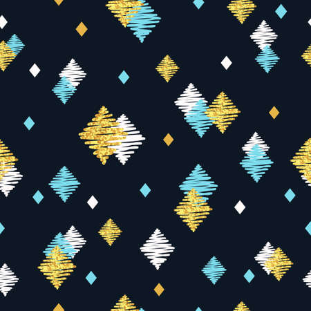 Seamless pattern with blue black and golden rhombuses. Hand drawn celebration dark background.