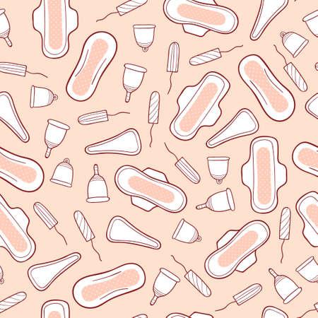 sanitary napkin: Feminine hygiene products seamless pattern. Sanitary pads tampons menstrual cups panties. Vector background.