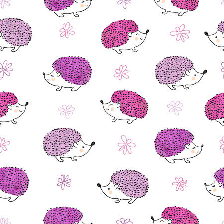 Seamless pattern with cute watercolor hedgehogs. Vector background in pink and purple colors.