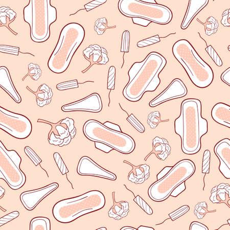 sanitary napkin: Seamless pattern with menstrual sanitary napkins and tampons. Feminine hygiene. Vector background. Illustration
