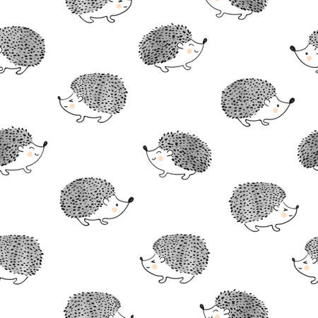 Cute watercolor hedgehogs seamless pattern. Vector background.