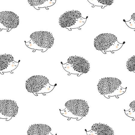 aquarelle Mignon hérissons seamless pattern. Vecteur de fond.